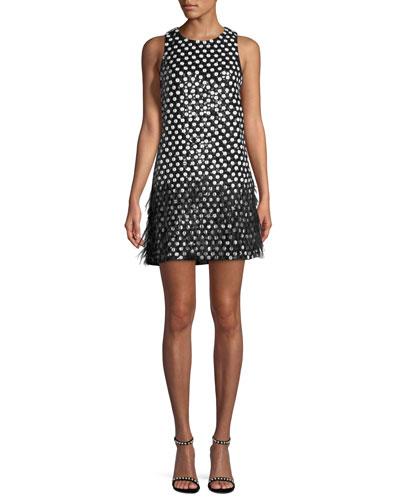 Allegra Dot Mini Dress w/ Feather Hem