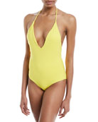 Nina Deep-V Halter Solid One-Piece Swimsuit