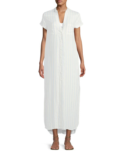 Kim Button-Front Striped Coverup Maxi Dress