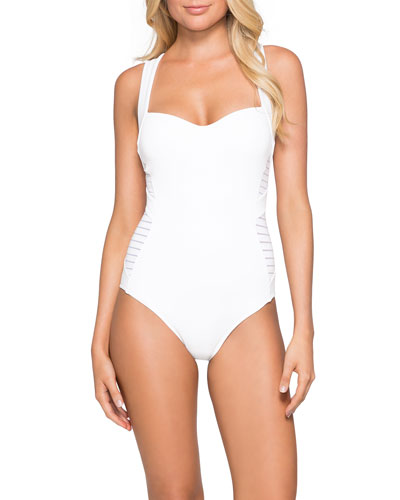4d86cba1e1 Quick Look. JETS by Jessika Allen · Banded Side-Stripe One-Piece Swimsuit