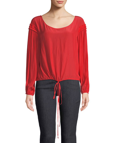 Liam Scoop-Neck Long-Sleeve Silk Top with Drawstring Hem