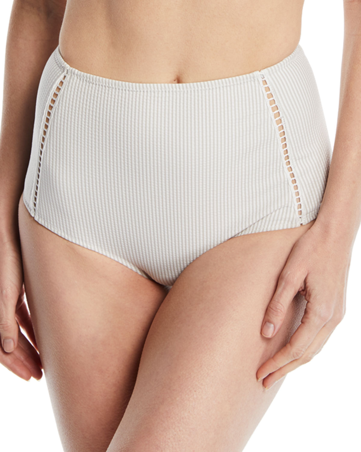 High-Waist Seersucker Bikini Swim Bottoms