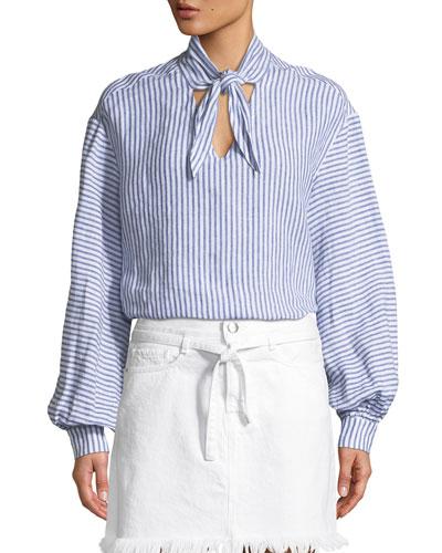 Handkerchief Striped Tie-Neck Linen Top