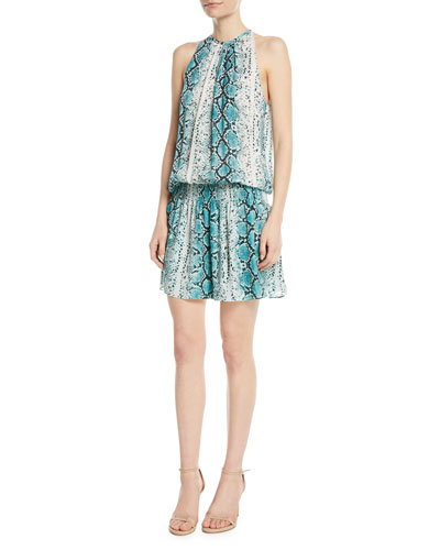 Paris Siena Sleeveless Snake-Print Silk Short Dress