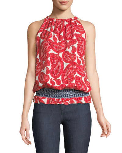 Lauren Smocked-Waist Paisley-Print Top