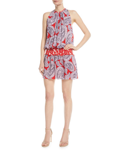 Mia High-Neck Sleeveless Paisley-Print Silk Dress