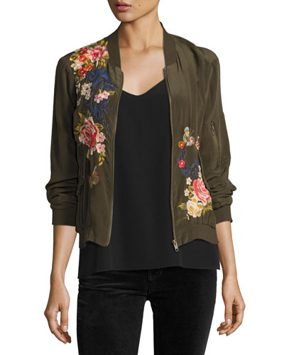 Lucy Crepe de Chine Bomber Jacket, Petite