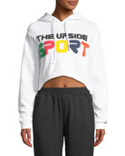 Holly Cropped Fleece Logo-Print Hoodie