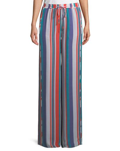 Dorota Wide-Leg Striped Silk Pull-On Pants