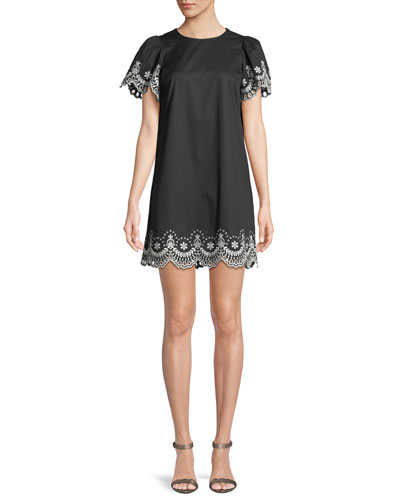 cutwork scalloped mini dress