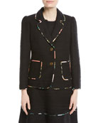 blossom trim two-button tweed jacket