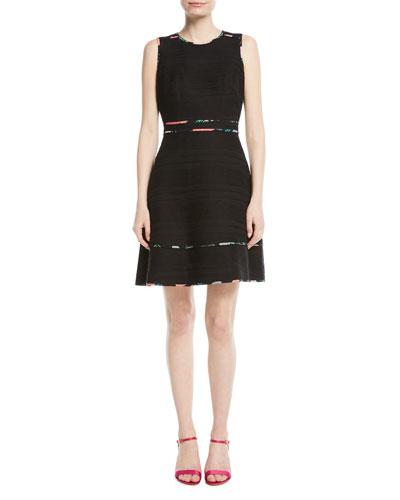 sleeveless blossom trim tweed mini dress