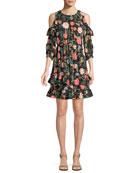 blossom cold-shoulder mini dress