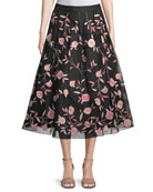 nancie floral tea-length skirt