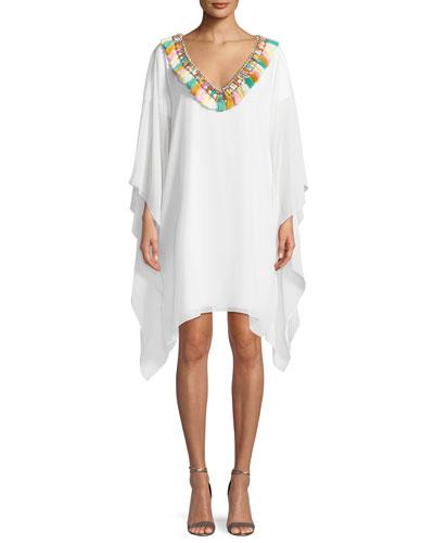 Fringe Pompom V-Neck Caftan Dress