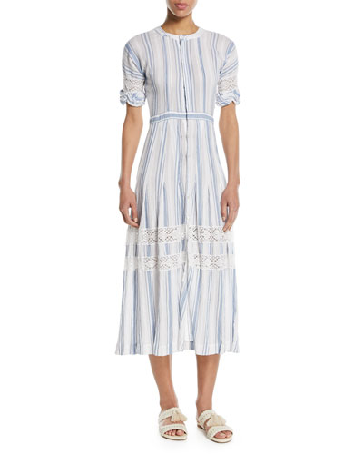 Eden Striped Cotton Short-Sleeve Coverup Midi Dress