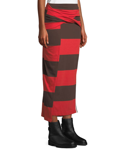 Striped Maxi-Length Wrap Skirt