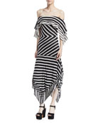 Malick Off-the-Shoulder Striped Cotton Handkerchief Dress