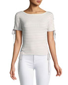 Asika Short-Sleeve Stripe Top