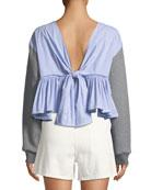 Cropped Cotton Sweatshirt w/ Tie Back