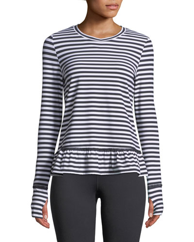 stripe ruffle long-sleeve pullover top