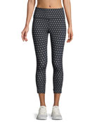 polka-dot scallop crop leggings