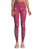 electric rose-print studio leggings