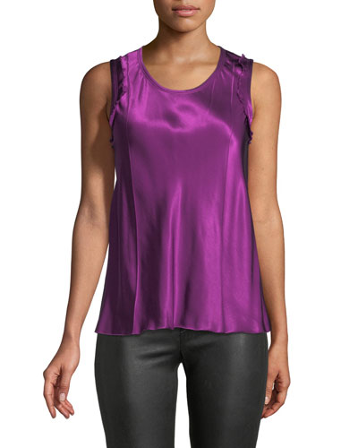 Scoop-Neck Sleeveless Bias-Seam Satin Top