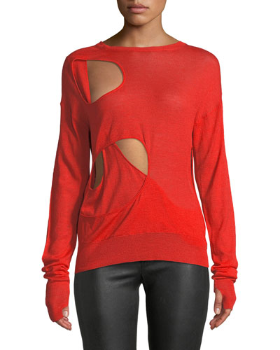 Crewneck Cutout Long-Sleeve Wool-Silk Sweater