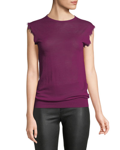 Fray Sleeveless Fine Cashmere Top