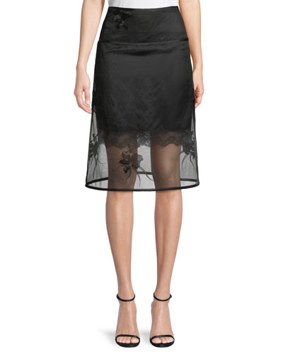 Orchid-Embroidery A-Line Organza Skirt