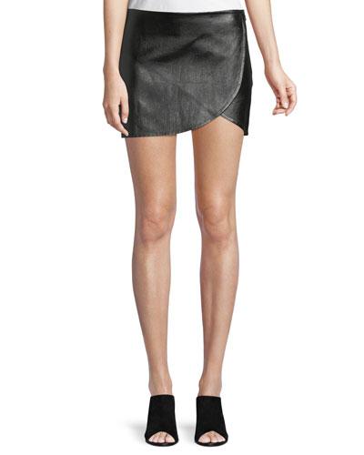 Lamb Leather Mini Overlap Skirt