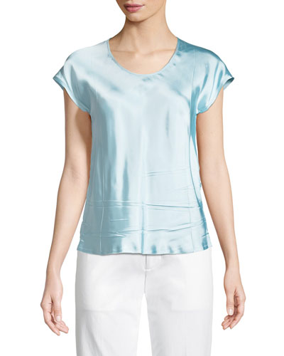 Scoop-Neck Cap-Sleeve Satin Top