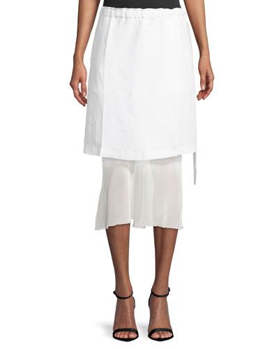 Ruched-Waist Linen Skirt with Contrast Hem