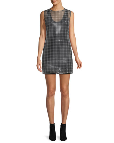 Opening Ceremony Cellophane Plaid Shell Dress, Black Pattern