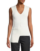 Mismatched Ribbed Tank w/ Ruffled Trim