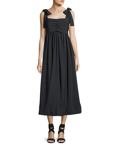 Sleeveless Tie-Shoulder A-Line Dress