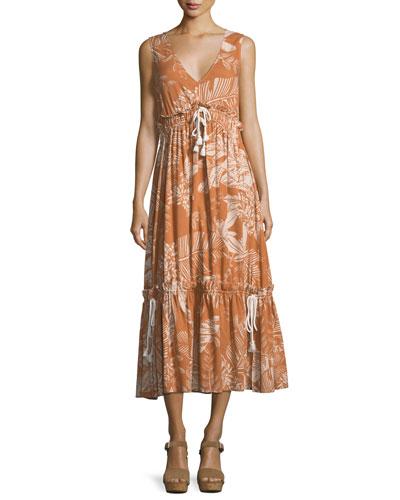 Pleated V-Neck Empire Dress