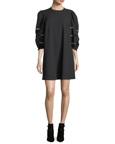 See By Chloé  OPAQUE A-LINE MINI DRESS WITH LADDER-STITCHED BALLOON SLEEVES