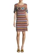 Striped Knit Short-Sleeve Cotton Dress