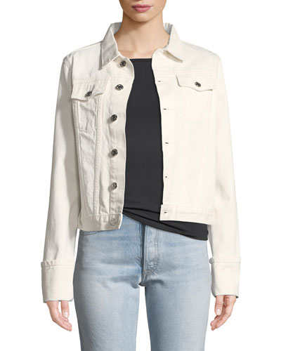 Calf-Leather Denim-Detail Jacket