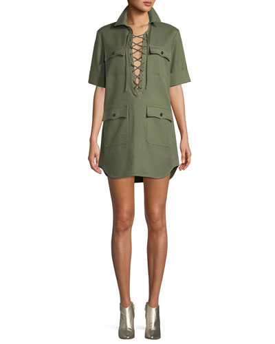 Record Brode Lace-Up Short-Sleeve Shirtdress w/ Embroidery