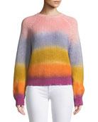 Kary Long-Sleeve Rainbow Gradient Sweater