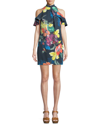 Amado Splendor in the Garden Cold-Shoulder Mini Dress