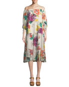 Cattleya Splendor in the Garden Silk Stretch Dress
