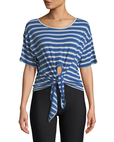 Striped Tie-Front Short-Sleeve Tee