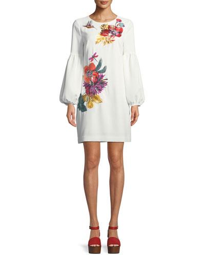 Floral Balloon-Sleeve Mini Dress
