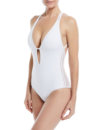 JETS BY JESSIKA ALLEN ASPIRE PLUNGE STRAPPY ONE-PIECE SWIMSUIT