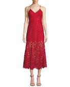 Brielle Lace Slip Dress w/ Flounce Hem