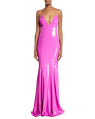 Sequined V-Neck Open-Back Gown